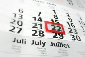 Calendar 22nd of June